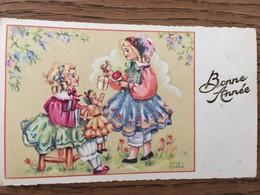 CARTE , Bonné Année, Illustrateur Luce André, 2 Petites Avec Cadeaux, Le Texte Bonne Année Est Gaufré - Otros Ilustradores