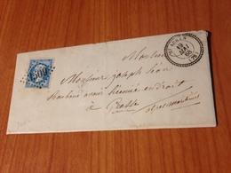 SAINT AUBAN (06) -1868- GC 3509-  Indice 8 ( Pothion ) -timbre Num 22- Cachet Pérlé -   (port à Ma Charge ) - Marcofilie (Brieven)