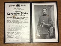 Sterbebild Wk1 Ww1 Bidprentje Avis Décès Deathcard IR16 CHAULNES VERMANDOVILLERS Aus Thalöd April 1916 - 1914-18