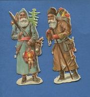 Bel Ensemble Deux Chromos Decoupis Gaufrés Embossed Pere NOEL Sapin Jouets 10,5 Cm Hauteur - Motiv 'Weihnachten'