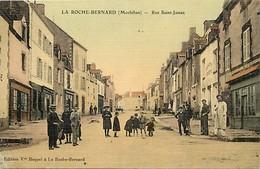 - Morbihan -ref-D741- La Roche Bernard - Rue Saint James - Magasins - Carte Toilée Colorisée Bon Etat - - La Roche-Bernard