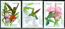 BRAZIL #2335-7    -   HUMMINGBIRDS AND ORCHIDS  - 3v  - EXPO BRAPEX 91 - MINT - Brazil