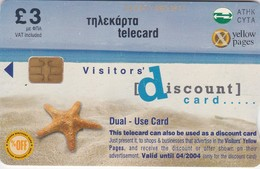 Cyprus, 0203CY, Yellow Pages Promotional Telecard, Starfish, 2 Scans. - Cyprus