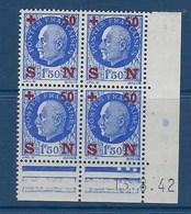 """FR Coins Datés YT 552 """" Pétain Secours National """" 1942 Neuf** Du 13.8.42 - 1940-1949"""