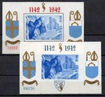 BELGIE 1942 BLOKJES ORVAL PERF AND IMPERF 18 EN 21 GENUMMERD GOMME POSTALE NEUF MLH* VF TB - Blocs 1924-1960