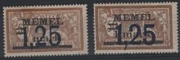 MEM 48 - MEMEL Merson N° 43 Neufs* Variétés Surcharges Grasse Et Maigre - Memel (1920-1924)