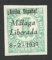 Spain, Malaga 1 C. 1937, Sc # 10L2, Mi # 2a, MH - Emissions Nationalistes
