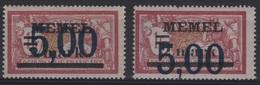 MEM 55 - MEMEL Merson N° 44 Neufs* VARIETE Surcharge Décallée - Memel (1920-1924)