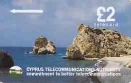 Cyprus, 12CYPA, £2 Petra Tou Romiou Beach (black Backside), 2 Scans  NB : Please Read - Cyprus