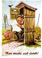 Man Macht Viel Durch - Bauer Auf Dem Klo Mit Misthaufen Hendl Sau Ca 1950 Scherz Klo Klohäuschen - Ansichtskarten