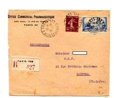 Olettre Recommandée Paris 127 Sur Moulin Semeuse - Marcophilie (Lettres)
