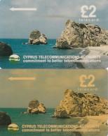 "Cyprus, 17CYPA, £2 ""petra Tou Romiou"" Beach, White Stripe On Backside, 2 Scans  2 Different CN Size - Cyprus"