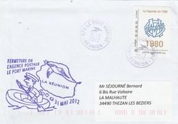 Fermeture Agence Postale LE PORT MARINE  Réunion 31/5/2012 Avec MonTimbraMoi Légende De L' OM 1980 Marseille Football - Postmark Collection (Covers)