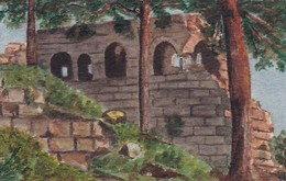 Gemälde Ruine Im Wald - Pastell Auf Karton - 12*7,5cm (42926) - Pastelli