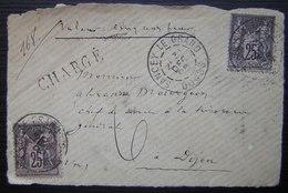 Sancey Le Grand (Doubs) Devant De Lettre Chargé Valeur 500 Francs, 1896 Avec Deux Timbres Sage à 25 Centimes - Marcofilie (Brieven)