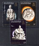 GIBILTERRA 1975 , Serie N. 329/331  MNH  ***  Michelangelo - Gibilterra