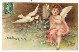 "22  - Anniversaire - Ante - Téléphone - Colombe ""en Relief - Embossed"" - Anges"