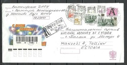 Russland RUSSIA 2004 Illustrated Cover To Estonia Arhitecture Kreml Stork Storch Happy New Year + Estonian Registration - 1992-.... Fédération