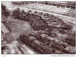 69 Carte Photo LYON LA MOUCHE -  Train - La Rotonde Des Locomotives A Vapeur - Otros