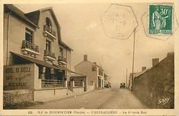 """- Vendée -ref-E705- Noirmoutier - L Herbaudière - La Grande Rue - Hotel Au """" XXe Siècle """" - Café - Edit. Gaby - N° 152 - - Noirmoutier"""