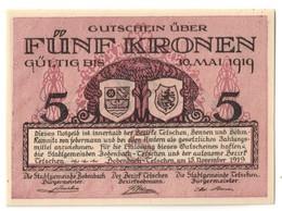 Austria Notgeld BOHEMIA & MORAVIA - BODENBADCH UND TETSCHEN 5 Kronen AUNC - Oesterreich