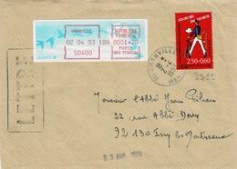 TP N° 2792 Et Bande De Machine Pour 1,70fr Sur Enveloppe De Granville - Marcophilie (Lettres)