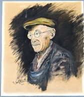 PORTRAIT  HOMME  SIGNE R  SE LETOILLE ?  1944  DESSIN CRAIE - Gouaches