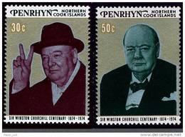PENRHYN Island 1974 CHURCHILL 2 Perf MNH - Sir Winston Churchill