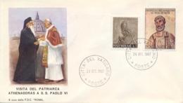 Vatican City 1967 Souvenir Cover Visit Of The Patriarch Athenagoras I - Papi