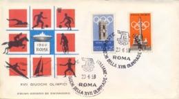 Italia Italy 1959 FDC MILVIO Giochi Olimpici Estivi A Roma Summer Olympic Games 1960 In Rome 15 Lire + 25 Lire - Estate 1960: Roma