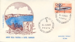 Italia Italy 1960 Annullo Su Busta 24 Agosto Castel Gandolfo Fiaccola Olimpica XVII Giochi Olimpici 17th Olympic Games - Estate 1960: Roma
