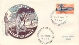 Italia Italy 1960 Annullo Su Busta 25 Agosto Roma Monte Antenne Camping XVII Giochi Olimpici 17th Olympic Games - Estate 1960: Roma