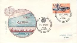 Italia Italy 1960 Annullo Speciale Su Busta 25 Agosto Roma Stadio Del Nuoto XVII Giochi Olimpici 17th Olympic Games - Estate 1960: Roma