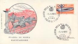 Italia Italy 1960 Annullo Speciale Su Busta 5 Settembre Roma Piazza Di Siena XVII Giochi Olimpici 17th Olympic Games - Estate 1960: Roma