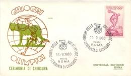 Italia Italy 1960 Annullo Su Busta 11 Settembre Roma Cerimonia Di Chiusura XVII Giochi Olimpici 17th Olympic Games - Estate 1960: Roma