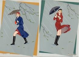 Illustrateur G Meschini X 2 Femme Parapluie ,ars Nova Dipinta A Mano - Autres Illustrateurs