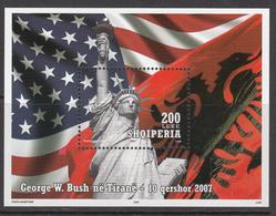 2007 Albania Albanie USA Statue Liberty Souvenir Sheet MNH - Albanie