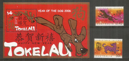 Année Du Chien (série + Bloc-feuillet Neufs ** ILES TOKELAU (Pacifique) & ILE CHRISTMAS (Océan Indien) Côte  15,00 Euro - Chiens