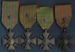 Lot De 4  Croix De Guerre   1914 /1918 + 1914 /1917 + 1914 /1916 + 1914 /1915 - Frankreich