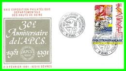 Trentième Anniversaire De L' A.P.C.S.Février 91.(Cinq Pieces, Différents Timbres) - Sevres