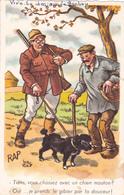 """ILLUSTRATEUR """"RAP"""" 1 CHASSEURS Et Son CHIEN-1 PAYSAN- Chien- Automne-Ecrite- Timbrée- 1961-Cachet SEIGNELAY - Autres Illustrateurs"""
