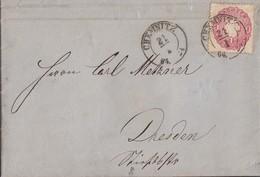 Sachsen Brief EF Minr.16 K2 Chemnitz 21.1.64 Gel. Nach Dresden Mit Inhalt - Saxe