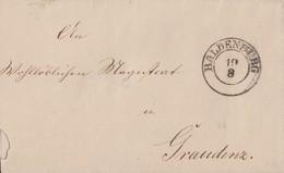 Preussen Brief K2 Baldenburg 19.8. Gel. Nach Graudenz - Preussen