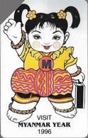 Myanmar - MPT - Urmet - Myanmar Year (Green Stripe ''Phone Card'' - Colour Variant #2), 100Units, 1996, Used - Myanmar