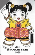 Myanmar - MPT - Urmet - Myanmar Year (Green Stripe ''Phone Card'' - Colour Variant #2), 100Units, 1996, Used - Myanmar (Burma)