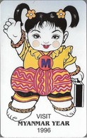 Myanmar - MPT - Urmet - Myanmar Year (Yellow Stripe ''IDD Phone Card''), 100Units, 1996, 15.000ex, Mint - Myanmar (Burma)