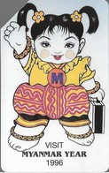 Myanmar - MPT - Urmet - Myanmar Year (Yellow Stripe ''IDD Phone Card''), 200Units, 1996, 15.000ex, Used - Myanmar