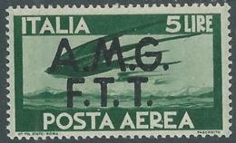 1947 TRIESTE A POSTA AEREA DEMOCRATICA 5 LIRE MH * - RA25-9 - Posta Aerea