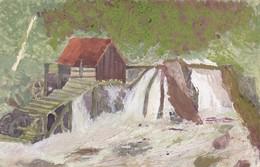 Gemälde Pastell - Wassermühle Fluss - Ludwig Wasem Pirmasens - 14*9cm (42944) - Pastelli