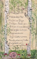 AK Gedicht Und Birken Fliegenpilz Schnecke - Orig. Handzeichnung - Poesie - 1910 (42946) - Illustrateurs & Photographes